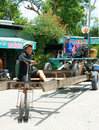 Asian man unsafe vehicle renovate danger circulate dong thap viet nam july control motorized moving on route he long as home made Stock Image