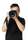 Asian man using camera Royalty Free Stock Photo