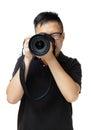 Asian man using camera Royalty Free Stock Photo