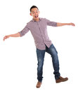 Asian man walking carefully full body try to balance himself isolated on white background male model Stock Image