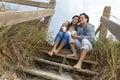 Asian Man Woman Romantic Couple on Beach Steps Royalty Free Stock Photo