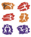 Asian martial arts grunge icons simple on the background vector illustration Stock Photography