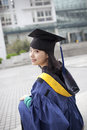 Asian master girl graduate looking for future Royalty Free Stock Photography