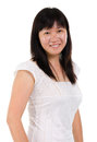 Asian mature woman smiling happy portrait beautiful middle aged chinese isolated on white background Stock Photos
