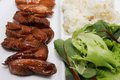 Asian meal of teriyaki chicken Royalty Free Stock Images
