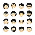 Asian men head avatar iconset with beards, mustaches, glasses and rosy cheeks Royalty Free Stock Photo
