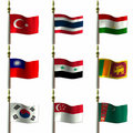 Asian and Middle Eastern Flags Stock Photo