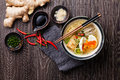 Asian Miso ramen noodles with egg, tofu and enoki Royalty Free Stock Photo
