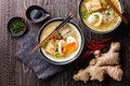 Asian Miso ramen noodles with egg, tofu and enoki Royalty Free Stock Photo