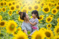 Asian mom and child hugged happily in the sunflower field.