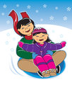 Asian mom and daughter on sled. Royalty Free Stock Photos