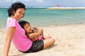 Asian mother and child happy vacation on the beach Stock Photos