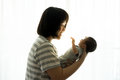 Asian mother with newborn baby in the hospital Royalty Free Stock Photo