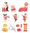 Asian new year. Happy chinese people celebrate 2019 with traditional symbols dragons lantern firecrackers vector