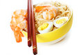 Asian noodle close up chines in plate with shrimps and eggs Royalty Free Stock Photography
