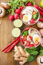 Asian noodle soup ramen with fresh veggies and hardboiled egg Royalty Free Stock Photo