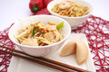 Asian noodles some fresh with chicken and vegetables Stock Photos