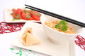Asian noodles soup a fresh with mie Stock Photos