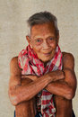 Asian old senior man candid portrait at chonburi thailand Stock Image