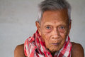 Asian old senior man candid portrait at chonburi thailand Royalty Free Stock Photo