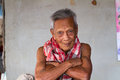 Asian old senior man candid portrait at chonburi thailand Royalty Free Stock Image