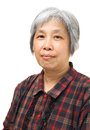 Asian old woman mature over white background Royalty Free Stock Photo