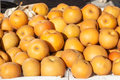 Asian pears stack of fresh organic for sale at local farmers market Stock Photo