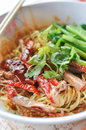Asian peking duck noodle soup Stock Photo