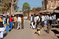 Asian people meet to discuss everyday problems on the sunny indian street in orchha india orchha had a population of males Royalty Free Stock Photos