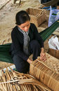 Asian people work inside coir mat workshop ben tre viet nam june vietnamese women traditional craft coconut matting to export Stock Photo
