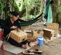 Asian people work inside coir mat workshop ben tre viet nam june vietnamese women traditional craft coconut matting to export Royalty Free Stock Image