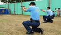 Asian police shooting practice Stock Image