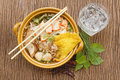 Asian pork noodle in the bowl Royalty Free Stock Photo