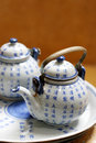 Asian pottery tea set. Royalty Free Stock Images