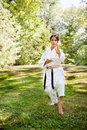 Asian practicing karate Royalty Free Stock Photo