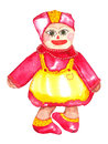 Asian rag doll watercolor painting with pink and yellow dress Royalty Free Stock Photo