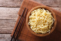 Asian ramen noodles in wooden bowl. horizontal top view Royalty Free Stock Photo