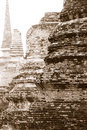 Asian religious architecture. Ancient Buddhist pagoda ruins. Ayu Royalty Free Stock Photo