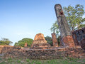Asian religious architecture. Ancient Buddhist pagoda ruins Royalty Free Stock Photo
