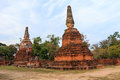 Asian religious architecture. Ancient Buddhist pagoda ruins at Wat Phra Sri Sanphet Temple in Ayutthaya, Thailand Royalty Free Stock Photo