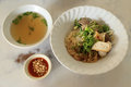 Asian rice noodle recipe with soup Royalty Free Stock Photo