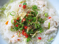 Asian Rice Soup with Fresh Ingredients Royalty Free Stock Photo