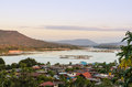 Asian riverside village aerial view of the of khong chiam in thailand Royalty Free Stock Image