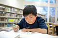 Asian School Boy Working on Homework at Library Royalty Free Stock Photo