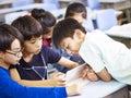 Asian schoolchildren using digital tablet together Royalty Free Stock Photo