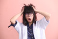Asian scientist gets mad Royalty Free Stock Photo