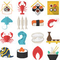 Asian seafood flat color icons