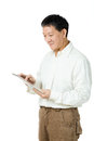 image photo : Asian senior man using tablet