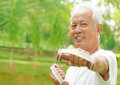 Asian senior workout Royalty Free Stock Photo