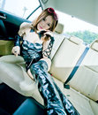 Asian sexy girl in car Royalty Free Stock Photo